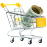 small shopping kart with a dollar bill in it